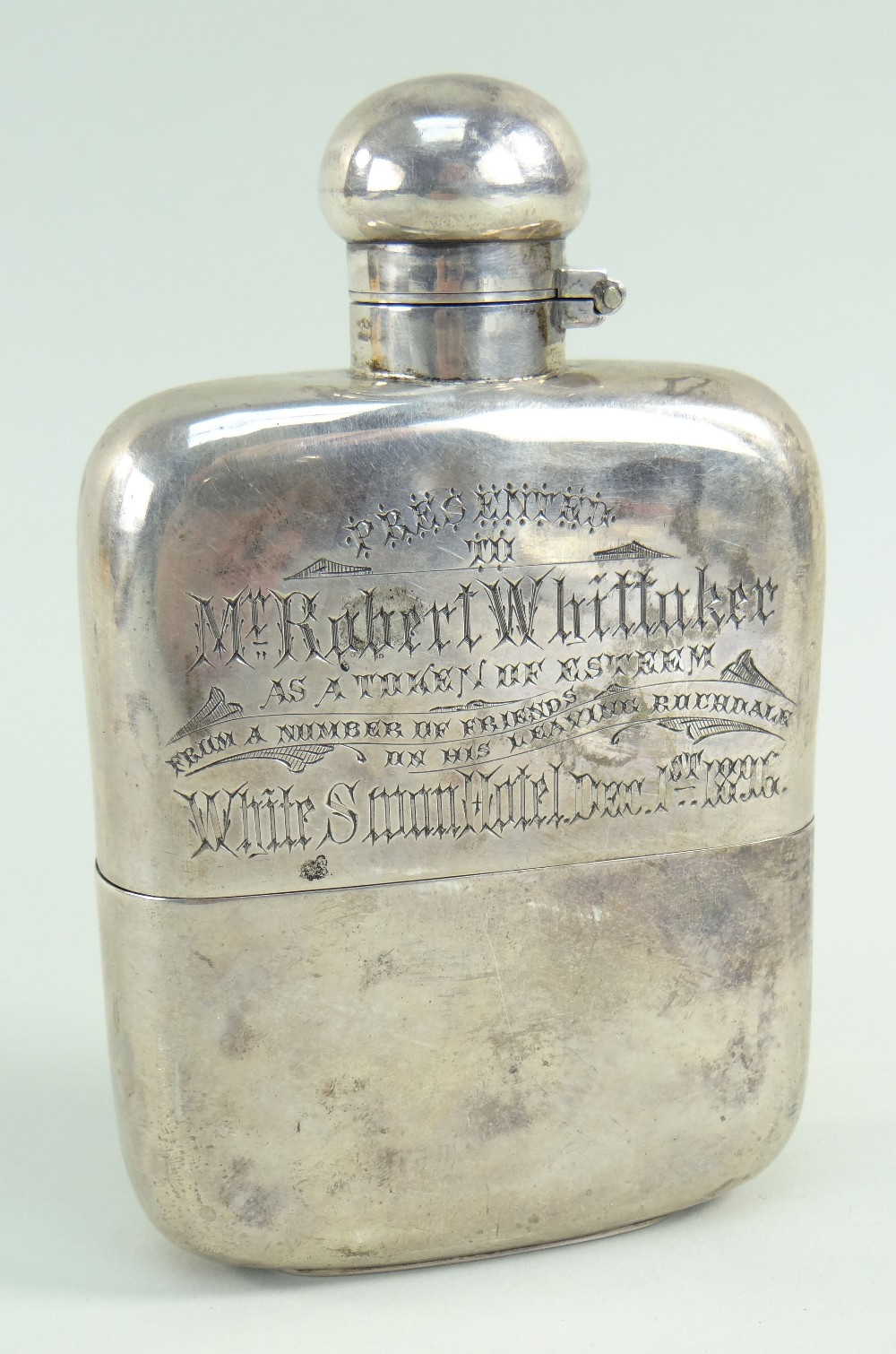 VICTORIAN SILVER HIP FLASK with presentation engraving 'Presented to Mr Robert Whittaker as a