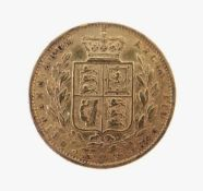 VICTORIA GOLD SOVEREIGN, 1872, young head, shield back, 7.9gms
