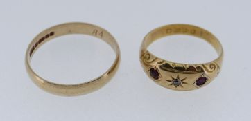 18CT GOLD RUBY & DIAMOND RING, 2.7gms, together with 9ct gold wedding band, 2.6gms (2) Condition
