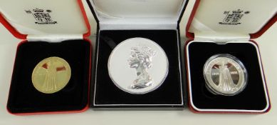THREE COMMEMORATIVE MEDALS comprising silver 'The Machin Head' portrait medal, together with two