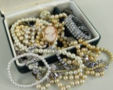 ASSORTED COSTUME JEWELLERY comprising 9ct gold cameo brooch, various pearls, costume bracelets and