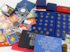 LARGE QUANTITY OF ASSORTED COINS comprising coinage sets of GB & NI 1973 and 1982, proof coinage set
