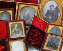 SIX VICTORIAN DAGUERROTYPYE / AMBROTYPES & A PHOTOGRAPH, all depicting women from about sixteen to