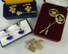 ASSORTED JEWELLERY & WATCHES comprising pair of 9ct gold gent's cufflinks in box, gent's chrome