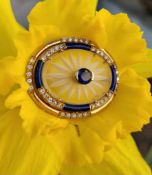 18CT GOLD SAPPHIRE, DIAMOND, GLASS & ENAMEL BAR BROOCH of oval shape, 9.6gms Condition Report: