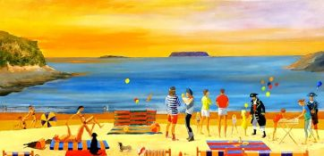 RICHARD O'CONNELL oil on canvas entitled 'Beach Party at Sully, Penarth', 100cm x 80cm