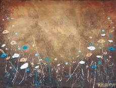 HAYLEY HUCKSON acrylic on wrapped canvas Entitles 'Autumn Wildflowers' 16 inches x 12 inches