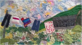 LYNDA NASH needlework Entitled 'The washing Line' 77cm x 45cm
