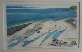 H TREHARNE JONES ltd edition print 7/200 signed by artist Entitled 'St Donat's Bay, Summer', pen,