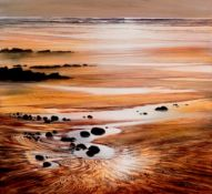CERI AUCKLAND DAVIES limited edition print Entitled Marloes Sands, Signed by artist, framed in bronz