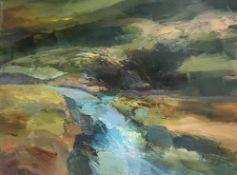 KAREN PEARCE acrylic on canvas Entitled 'Flooded Ystwydd' 70cm x 55cm
