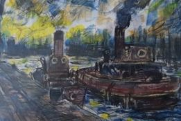 RAY THOMAS mixed media Queen Alexandra Dock, Cardiff, 43cm x 33cm, Glazed white frame