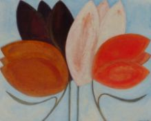 VIVIENNE WILLIAMS acrylic on paper Entitled 'Tulips' 70cm x 70cm framed in black