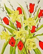 SUE TRUSLER watercolour Entitled 'Daffodils' 31cm x 39cm glazed white frame