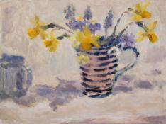 LYNNE CARTLIDGE oil on board Entitled 'Spring flowers in a striped Mug' 58cm x 48cm white frame