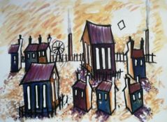 KARL DAVIES watercolour Entitled 'Rhondda View' 10 inches x 8 inches framed in black