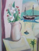 EMRYS WILLIAMS oil on linen Entitled 'Flowers at the Window' 41cm x 51cm framed in white