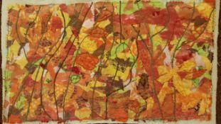 LYNDA NASH needlework Entitled 'Autumn Leaves' 50cm x 25cm