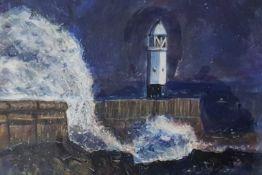 RAY THOMAS acrylic Entitled 'Porthcawl Lighthouse', 38 x 31cm, framed in white