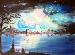 SERENA CUTLER acrylic on canvas Untitled 68cm x 48cm