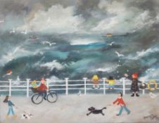 THERESE JAMES framed acrylic on boxed canvas Entitled 'A happy day blowing the cobwebs away' 14