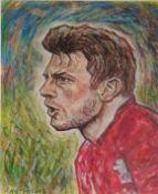 RAY THOMAS mixed media, portrait of Dan Bigg Biggar Signed by Dan Biggar 43cm x 43cm framed in