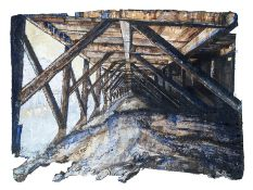 THEO CRUTCHLEY MACKS mixed media Entitled 'Beneath the Pier' 103cm x 80cm superbly framed
