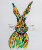 CHRISTINA HARTERY mixed media on stretched canvas Entitled 'The Hare' 50cm x 60cm