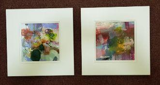 PHILIPA SIBERT mixed media. A pair Entitled 'Full Summer' each 33cm x 33cm framed in white