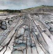 LISA HENDERSON pen & pastel Entitled 'The Beach at Llantwit Major 43cm x 43cm mounted & glazed in