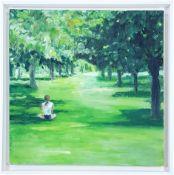 MORWENNA JONES oil on canvas Entitled 'Solitary Girl in Park' 45cm x 45cm floating white frame