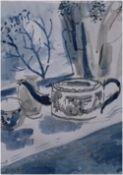 ELLA WILDING pen & ink Entitled 'Windowsill' 26cm x 31cm glazed in white frame