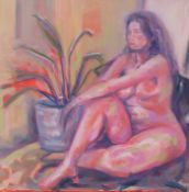PRITH BRIANT oil on board Entitled 'Nude' 63cm x 63cm framed