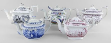 FIVE CAMBRIAN POTTERY TEAPOTS WITH VARIOUS TRANSFERS including blue and white 'Women with