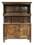 EARLY EIGHTEENTH CENTURY & LATER SNOWDONIA CWPWRDD TRIDARN in carved oak, having an open canopy,