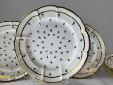 A MATCHING SET OF SIX SWANSEA PORCELAIN CRUCIFORM CIRCULAR DISHES painted with regularly spaced