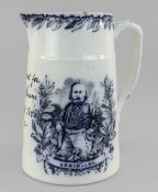A LLANELLY POTTERY NAMED JUG WITH TRANSFER TO COMMEMORATE GIUSEPPE GARIBALDI inscribed in black 'A