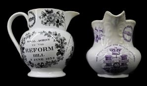 TWO 1832 GLAMORGAN POTTERY POLITICAL REFORM JUGS comprising an example of bellied form with
