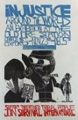 PAUL PETER PIECH three colour linocut poster - advert for a 1987 'Injustice Around the World'