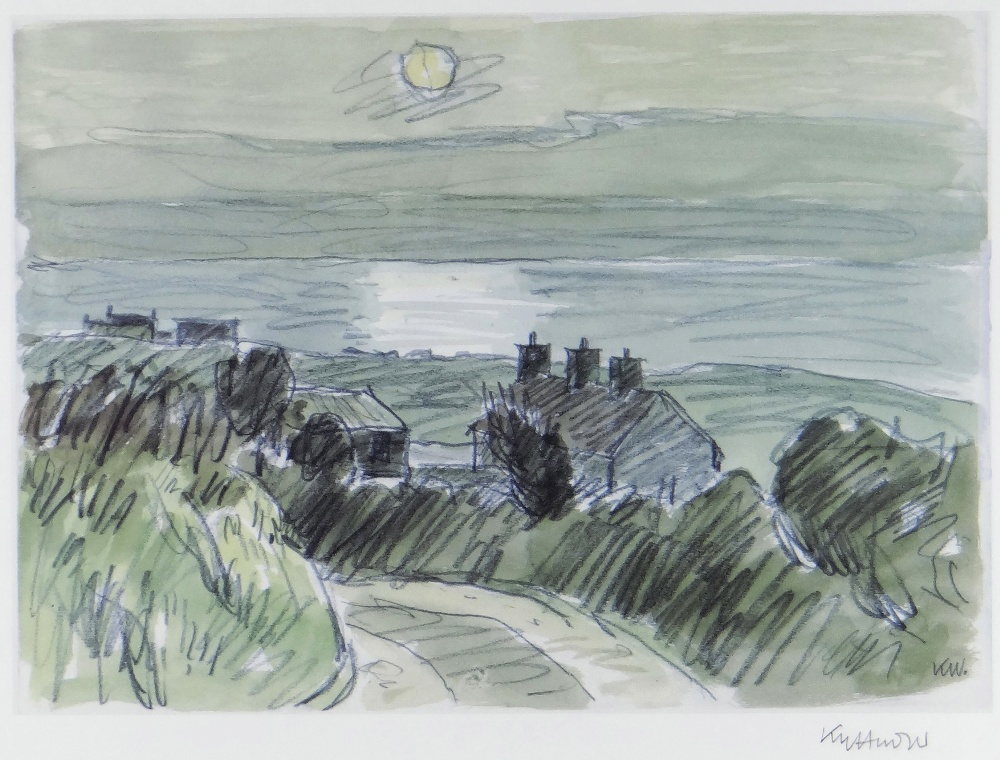 SIR KYFFIN WILLIAMS RA print - sunset coastal scene North Wales with roadside cottages, signed in