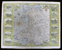 JOHN SPEED coloured antiquarian map of 'Wales', Basset & Chiswell Edition, 1676, map flanked by