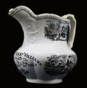 A MOULDED GLAMORGAN POTTERY NAMED JUG with Rural Series transfers in black and inscribed in black