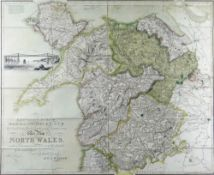 J & A WALKER Victorian coloured and engraved map - North Wales, dedicated to Marquis of Anglesey