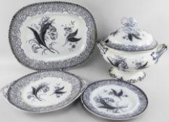AN YNYSMEUDWY ALAMBRA PATTERN PART-DINNER SET comprising large twin-handled lidded tureen, 28cms