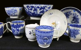 A GROUP OF VARIOUS EARLY SWANSEA CAMBRIAN / GLAMORGAN POTTERY TEAWARE comprising matching cup,