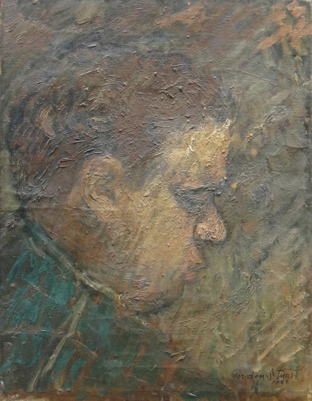 GORDON STUART oil on canvas - head and shoulders portrait of poet Dylan Thomas in side-profile,