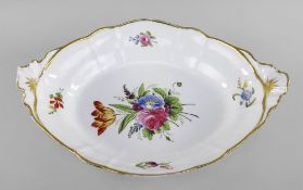 LARGE NANTGARW PORCELAIN OVAL CENTRE DISH lobed and with moulded fan handles, centred with spray