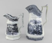 TWO YNYSMEUDWY POTTERY OCTAGONAL JUGS both printed in black transfer, the larger in the 'Livinium'