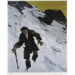 SIR KYFFIN WILLIAMS RA limited edition (92/150) colour print - farmer in snow, signed fully in
