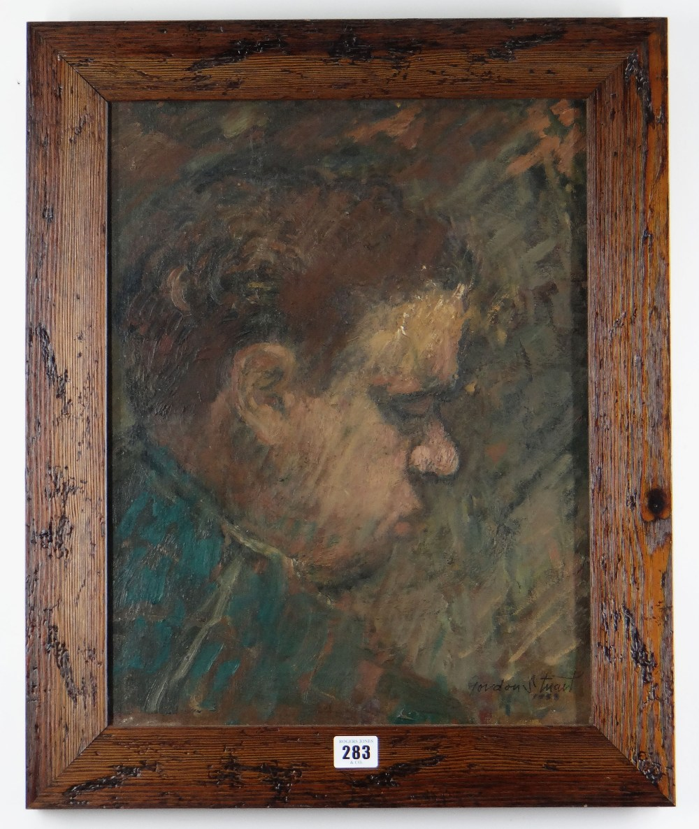 GORDON STUART oil on canvas - head and shoulders portrait of poet Dylan Thomas in side-profile, - Image 2 of 2